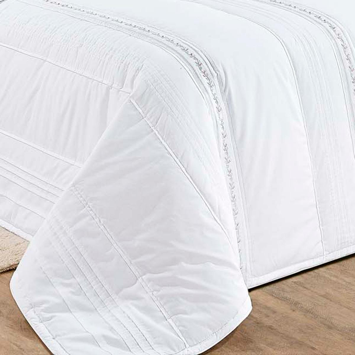 Colcha de Cama King Branco Percal 200 fios com 7 peças - Colcha Serenita