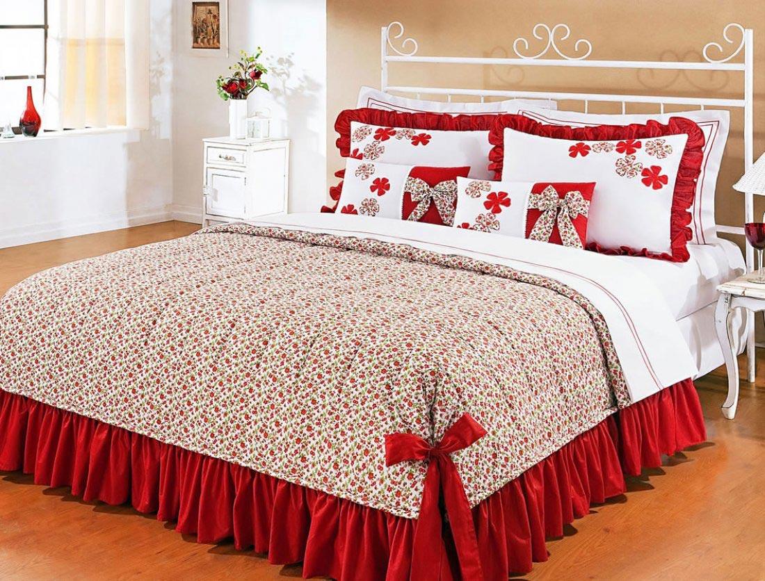 Colcha de cama super king doce lar vermelho em algod o 150 fios com 07 pe as colcha doce lar - Colchas para cama de 150 ...