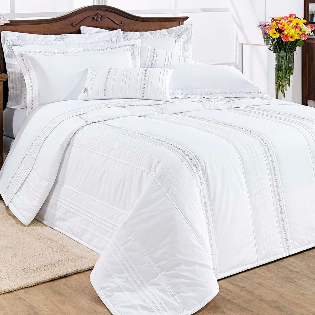 Colcha de cama queen branco percal 200 fios com 7 pe as - Colchas para camas de 150 ...