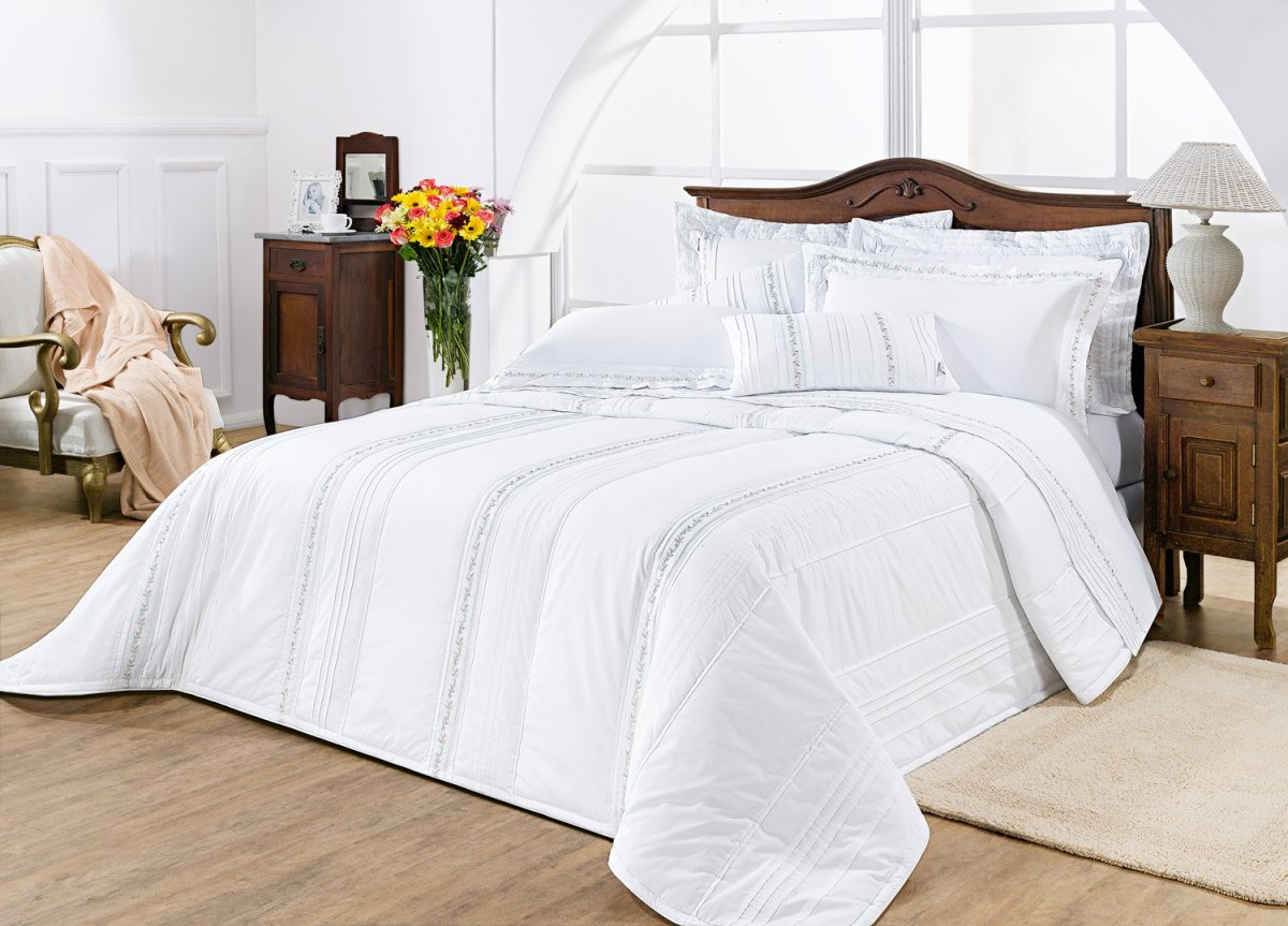 Colcha de Cama Queen Branco Percal 200 fios com 7 peças - Colcha Serenita