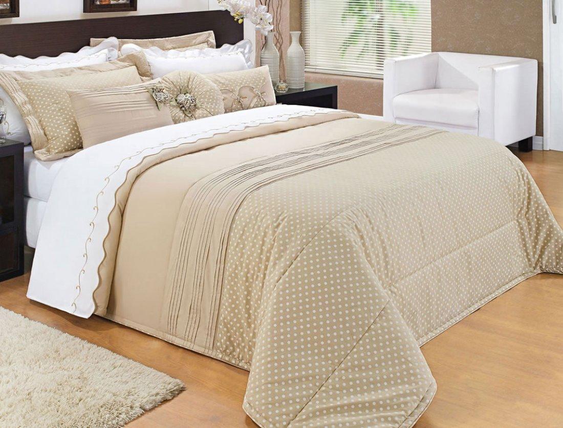 Colcha de cama king em percal 200 fios com 09 pe as colcha isadora casa sua beleza - Colchas para cama de 150 ...