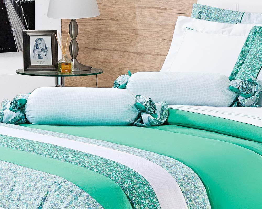 Colcha de Cama Queen Verde Percal 200 fios com 7 peças - Colcha Bloom