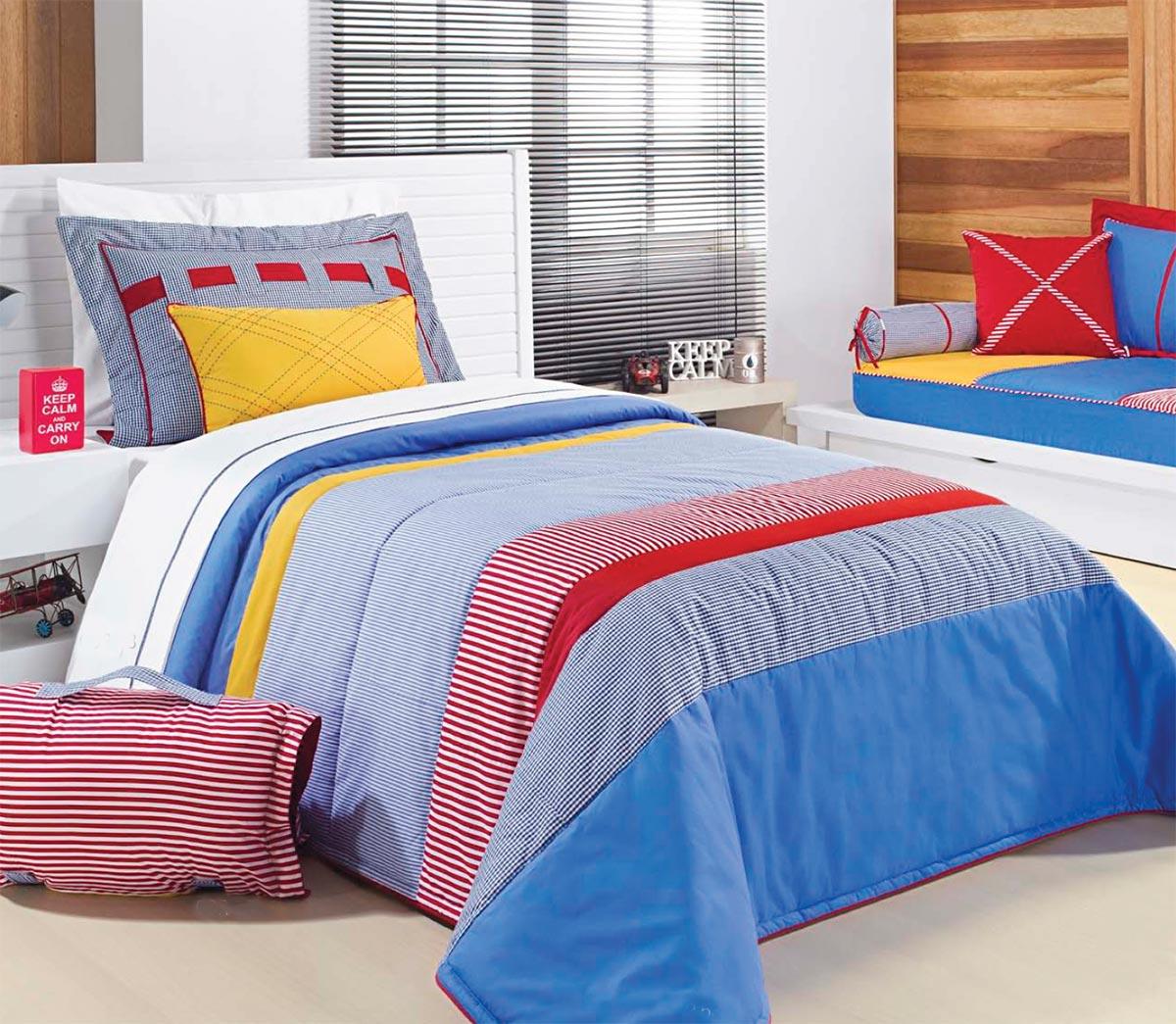 Colcha de Cama Solteiro Azul com listras vermelhas Percal 200 fios com 4 peças - Colcha Colors