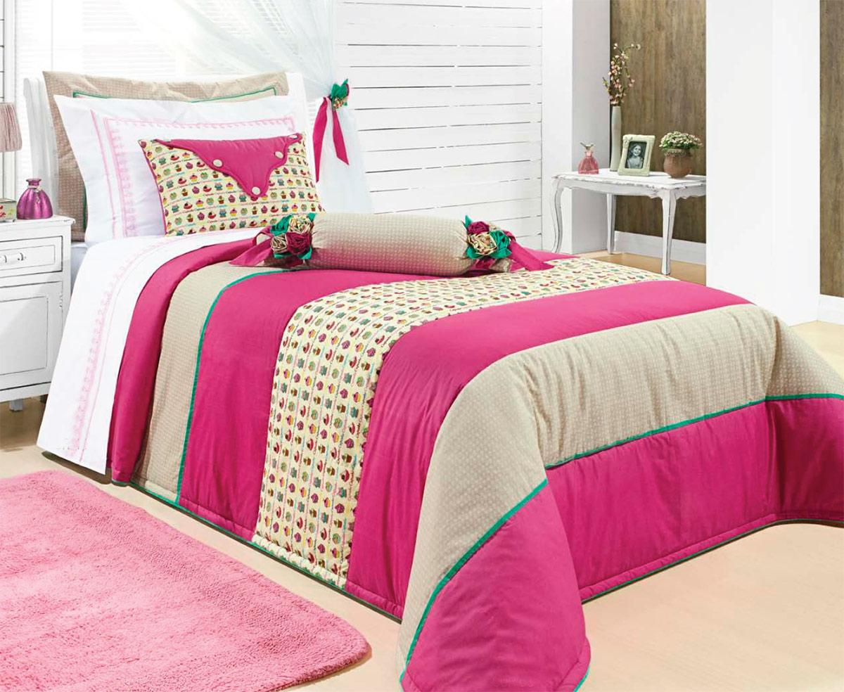 Colcha de Cama Solteiro Pink com estampa Percal 200 fios com 6 peças - Colcha Micaela