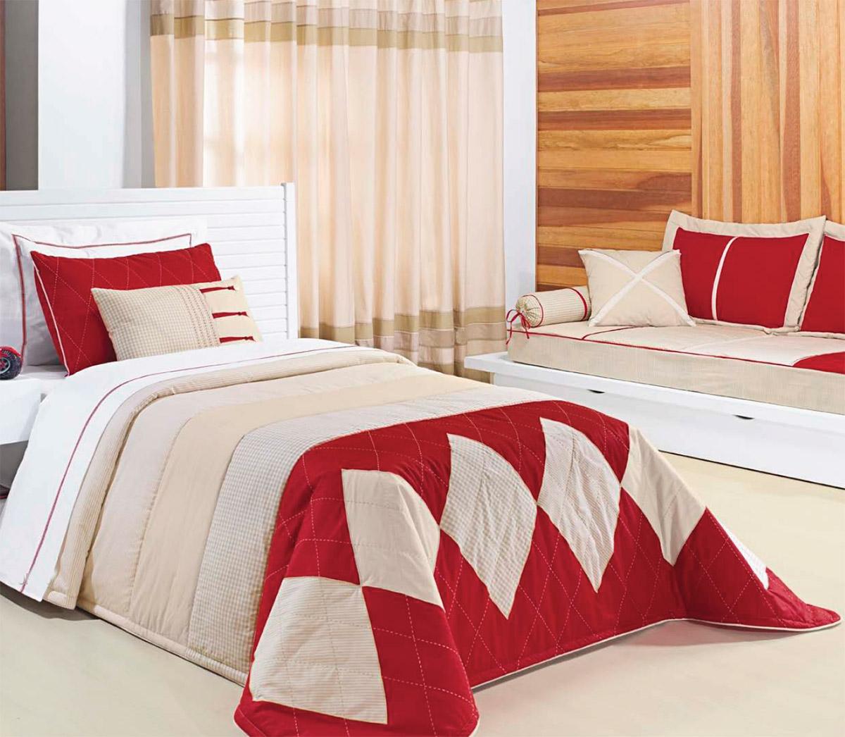 Colcha de Cama Solteiro Vermelho com palha Percal 200 fios com 4 peças - Colcha Red