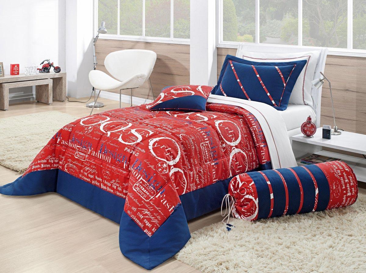 Colcha de Cama Solteiro Vermelho e Azul Algodão com 5 peças - Colcha Silvester
