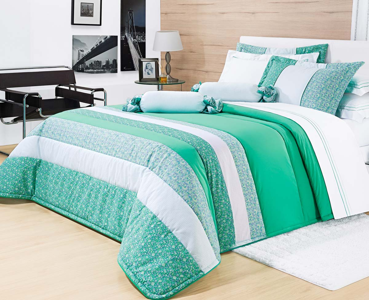 Colcha de Cama Cama Super King Size Verde Percal 200 fios com 7 peças - Colcha Bloom