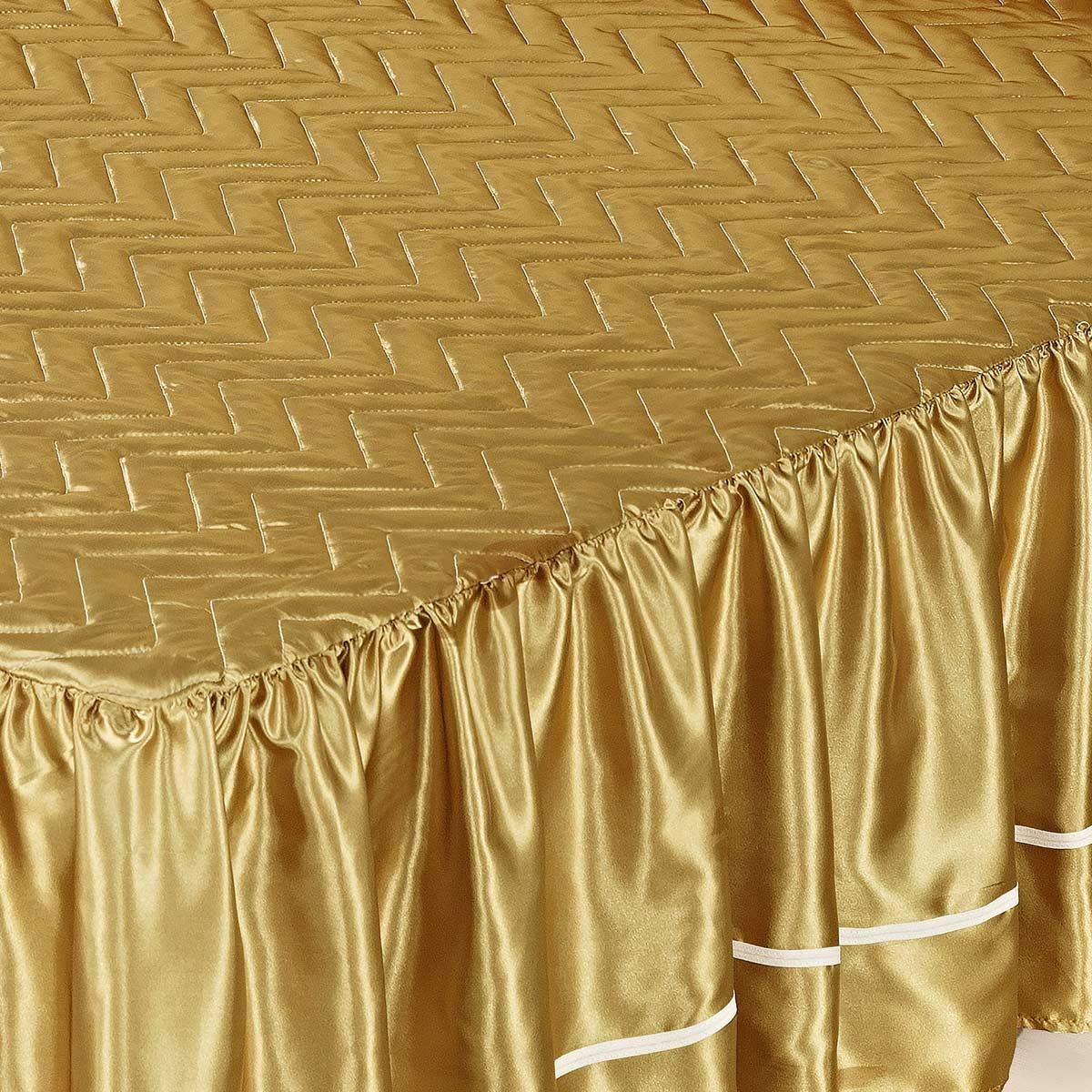 Colcha Império Casal Dourado com 5 peças Poliéster e Polipropileno
