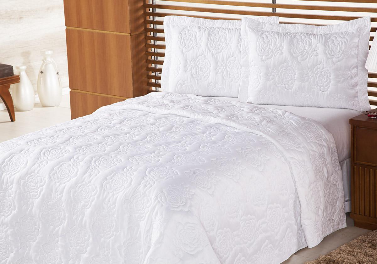 Colcha Life Clean Queen Branco Bordado Flores com 3 peças - Dupla Face