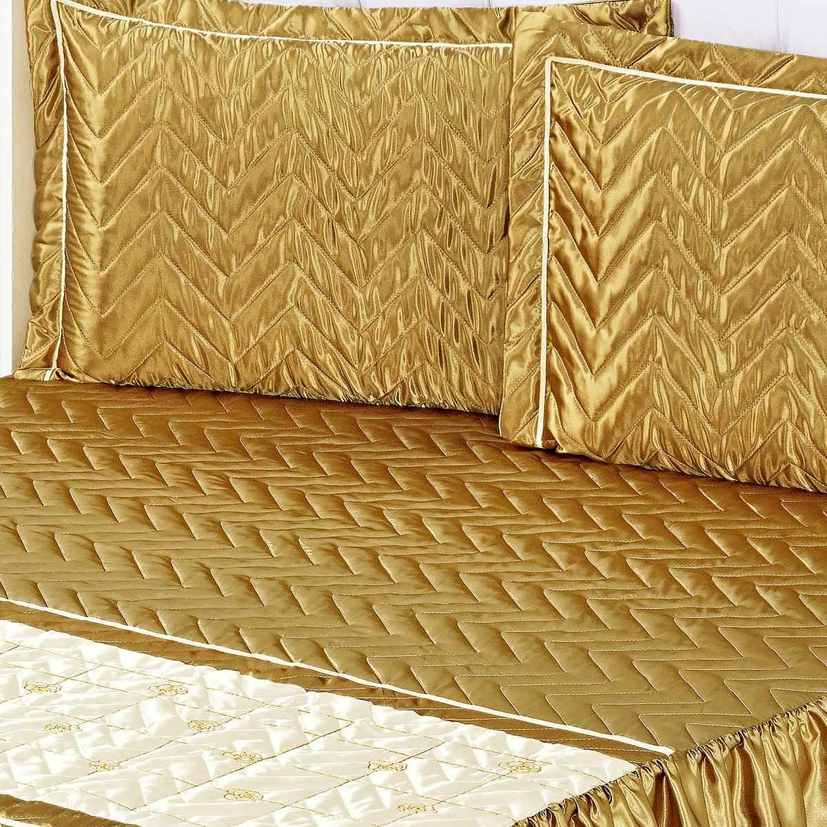 Colcha Maya Casal Dourada com 5 peças Poliéster e Polipropileno