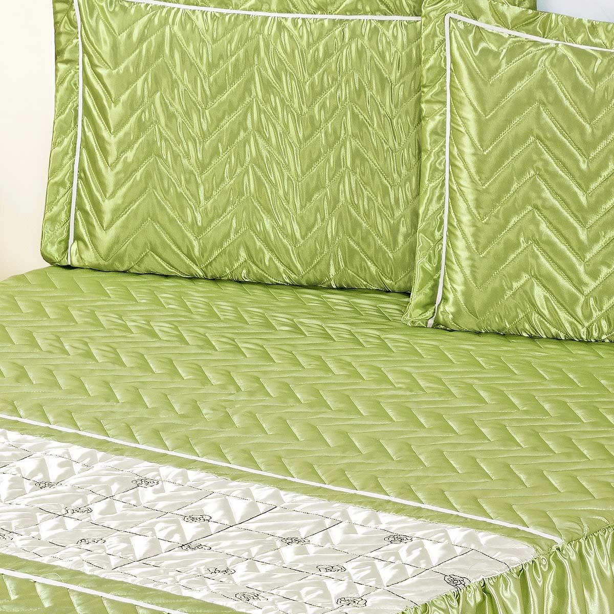 Colcha Maya Casal Verde com 5 peças Poliéster e Polipropileno