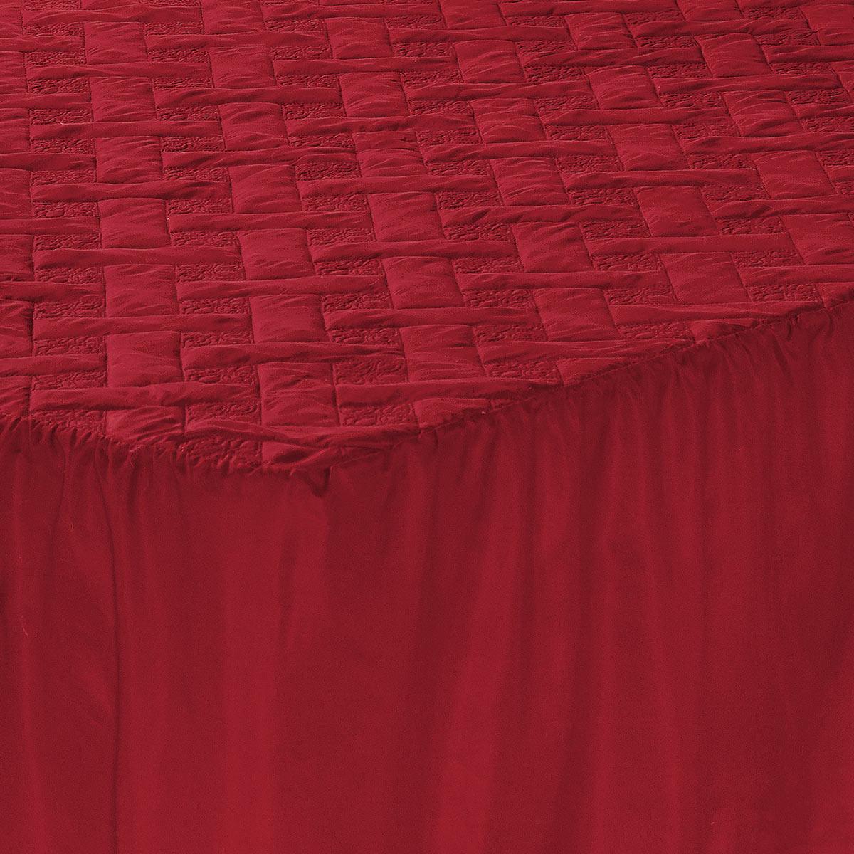 Colcha Megan Casal Vermelho com 5 peças Poliéster e Polipropileno