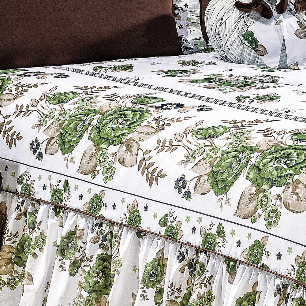Colcha Queen Amarilis Verde/Tabaco Floral com 5 peças