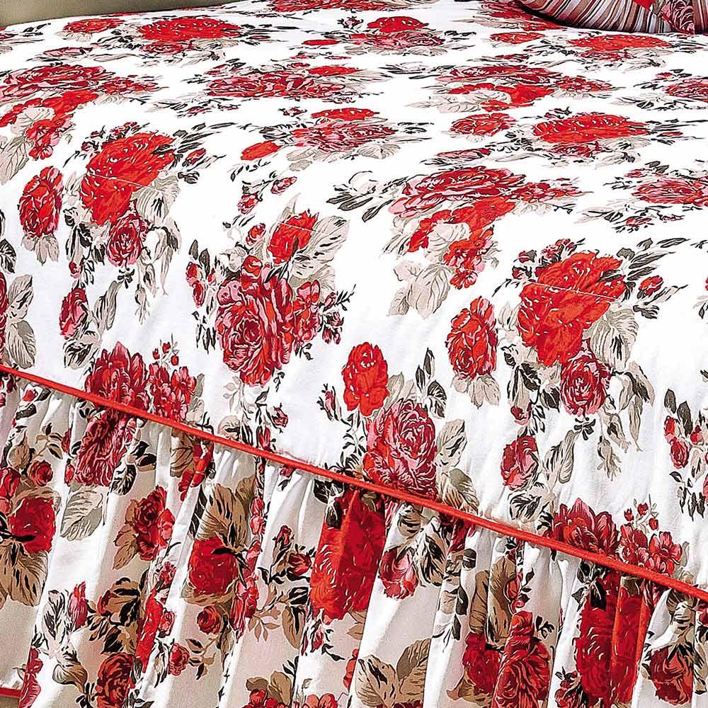 Colcha Queen Amarilis Vermelho Floral com 5 peças