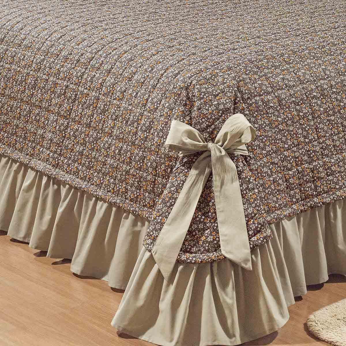 Colcha Queen Kit Doce Lar 150 Fios Estampado com 7 peças