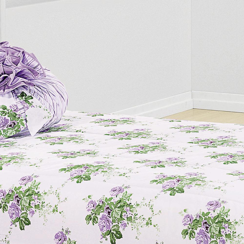 Colcha Solteiro Amarilis Lilas Floral com 4 peças