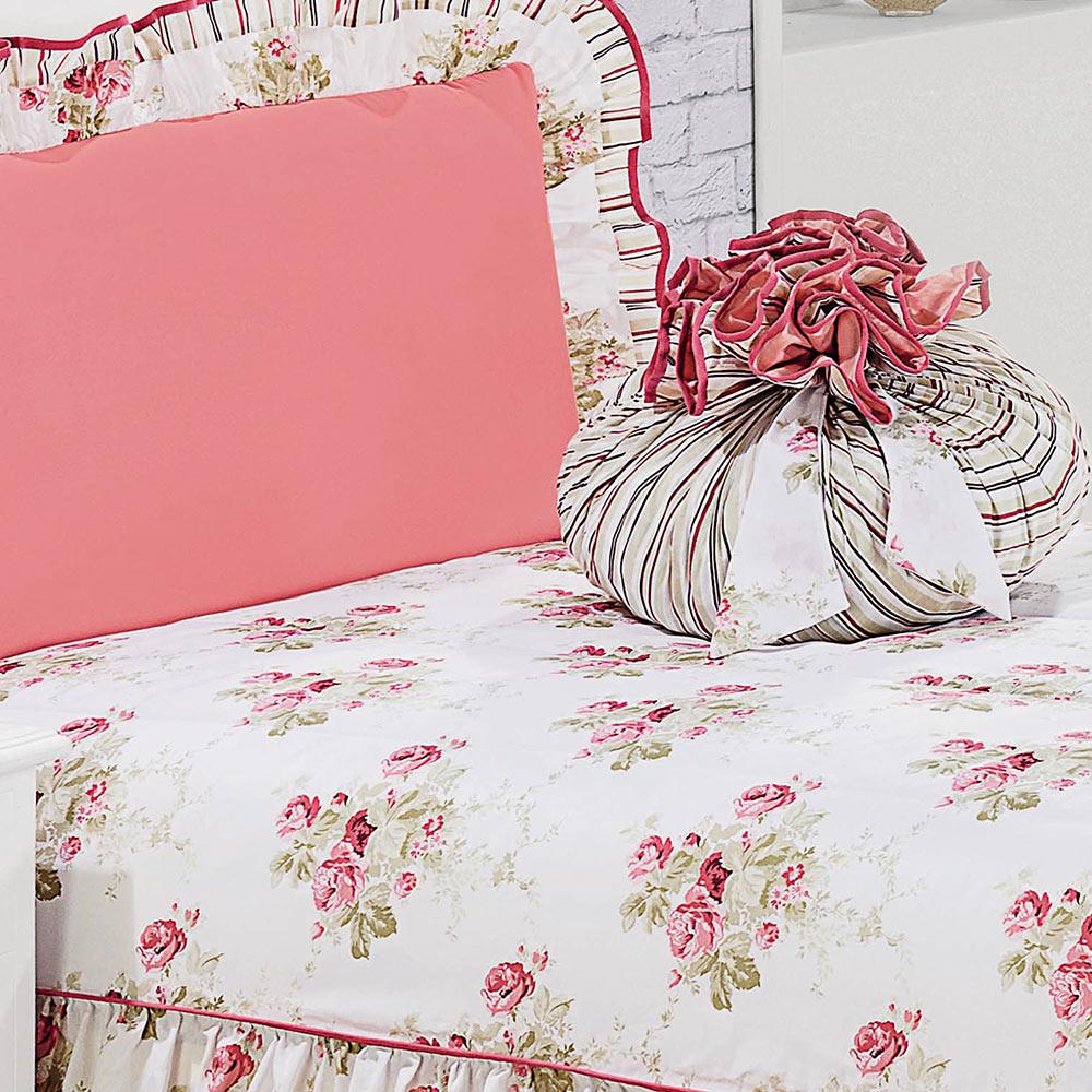 bdf0f78297 ... Colcha Solteiro Amarilis Rose Floral com 4 peças - Casa Sua Beleza ...