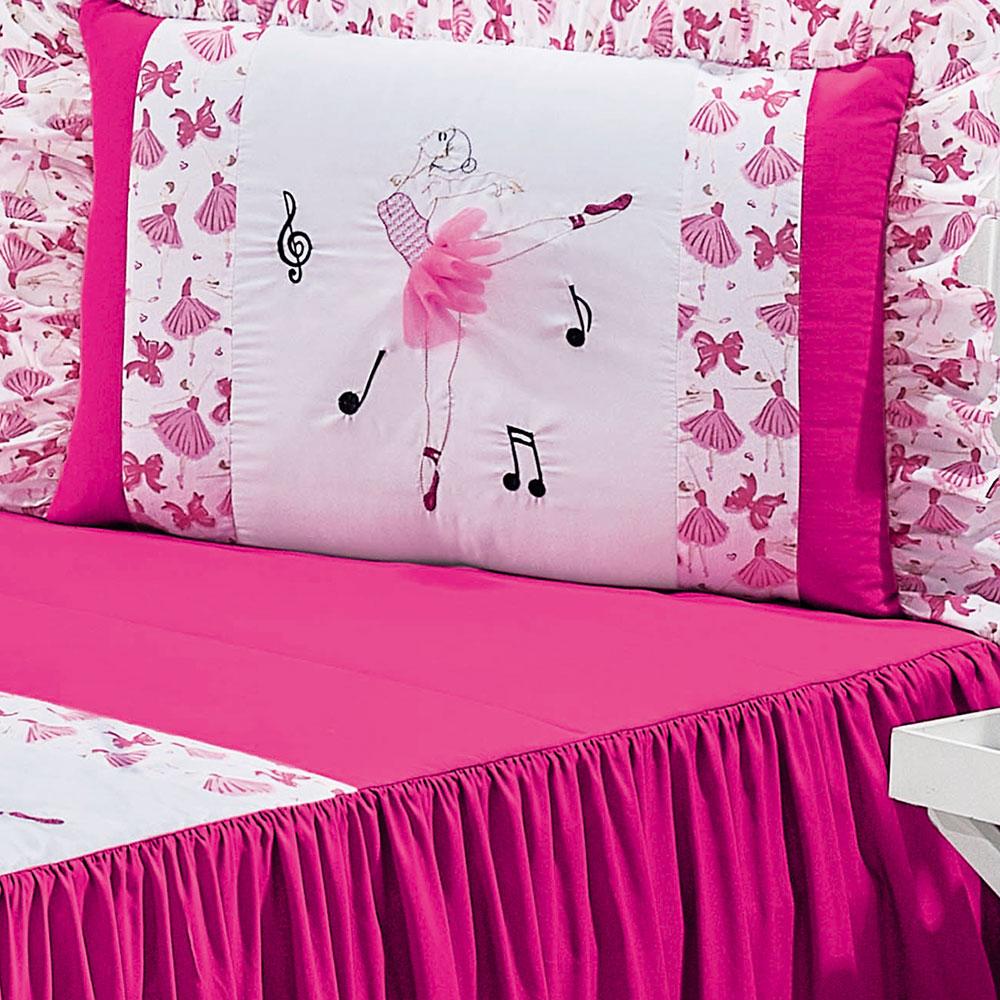 Colcha Solteiro Bailarina Pink Balê com 3 peças