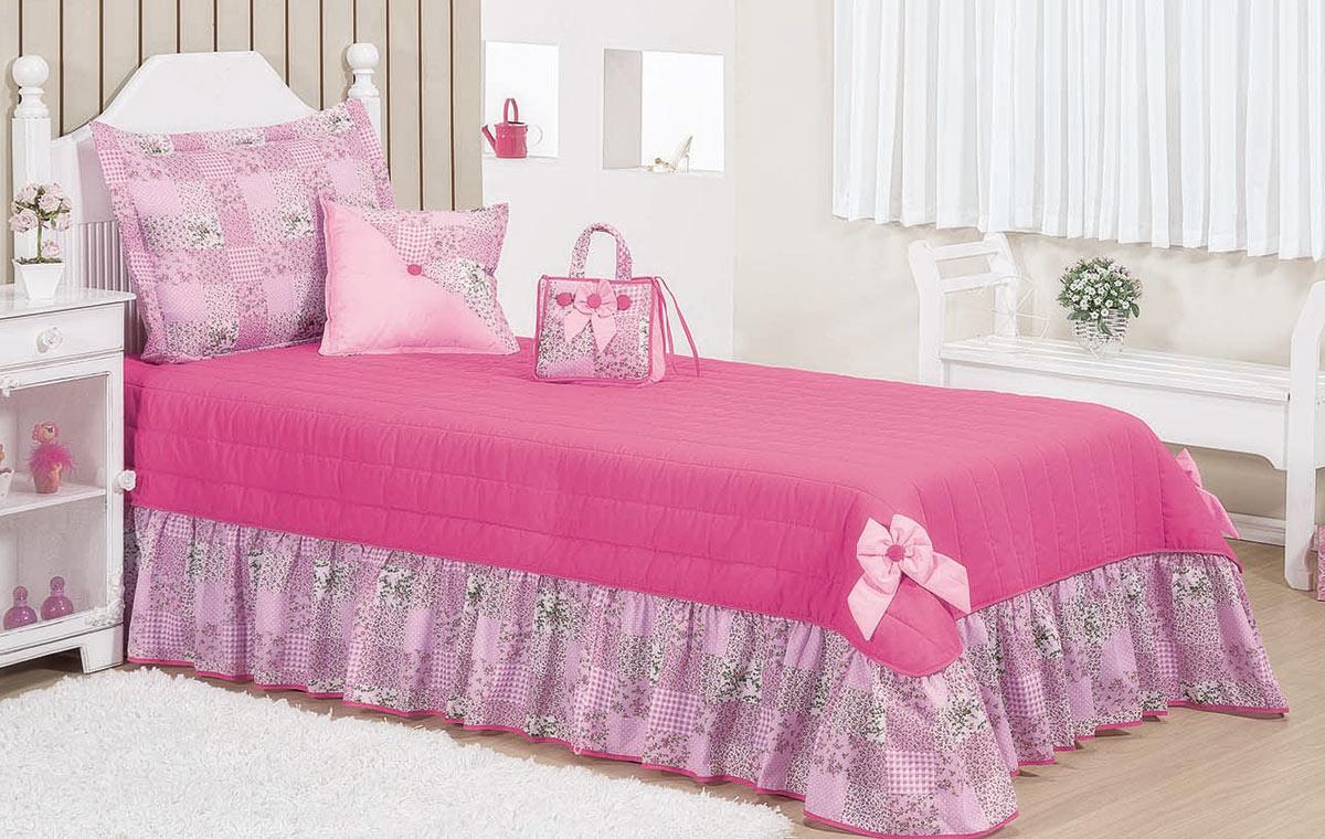 Colcha Solteiro Kit Petit  Pink com 5 peças em 100% Algodão