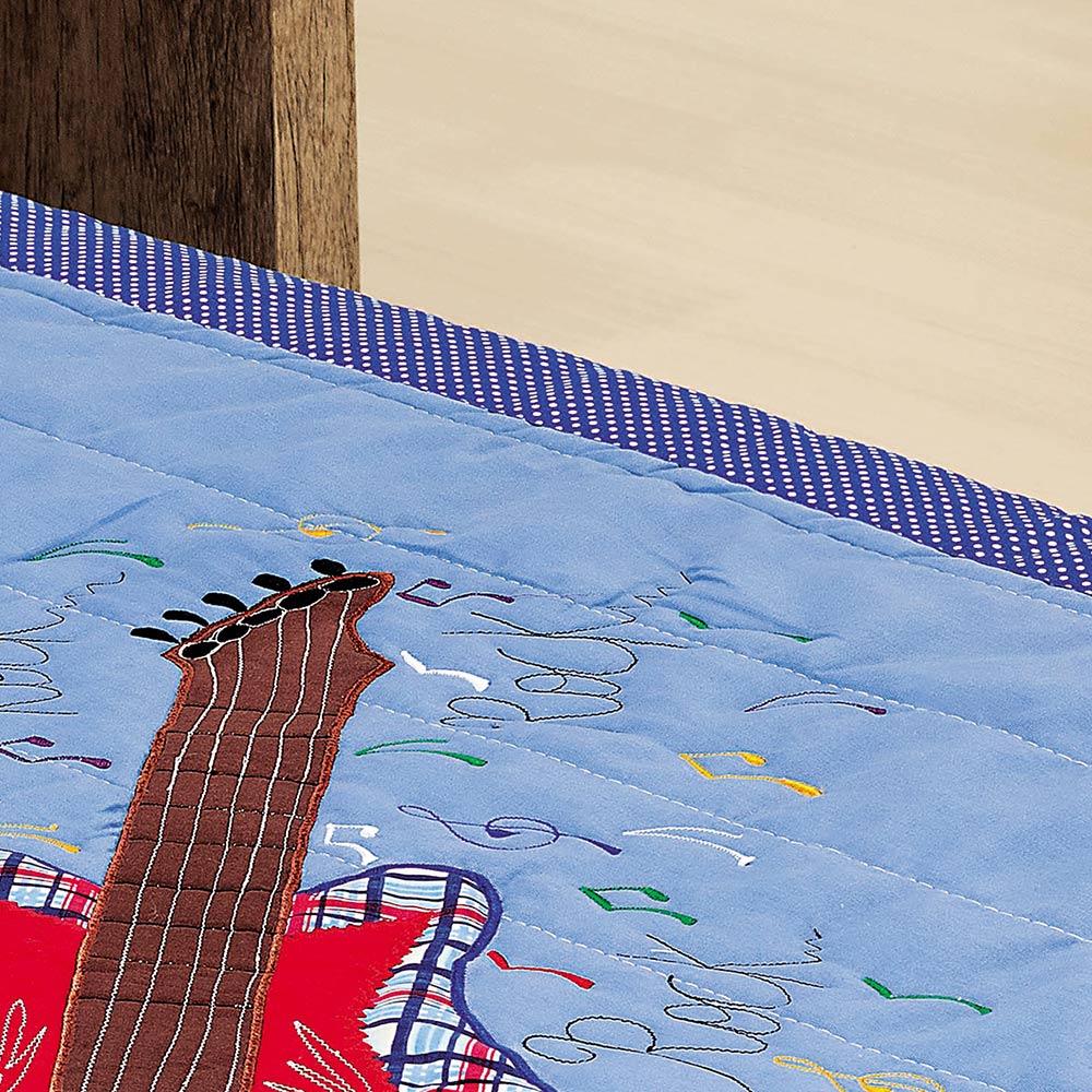 Colcha Solteiro Milano Azul Guitarra Guitarra com 2 peças