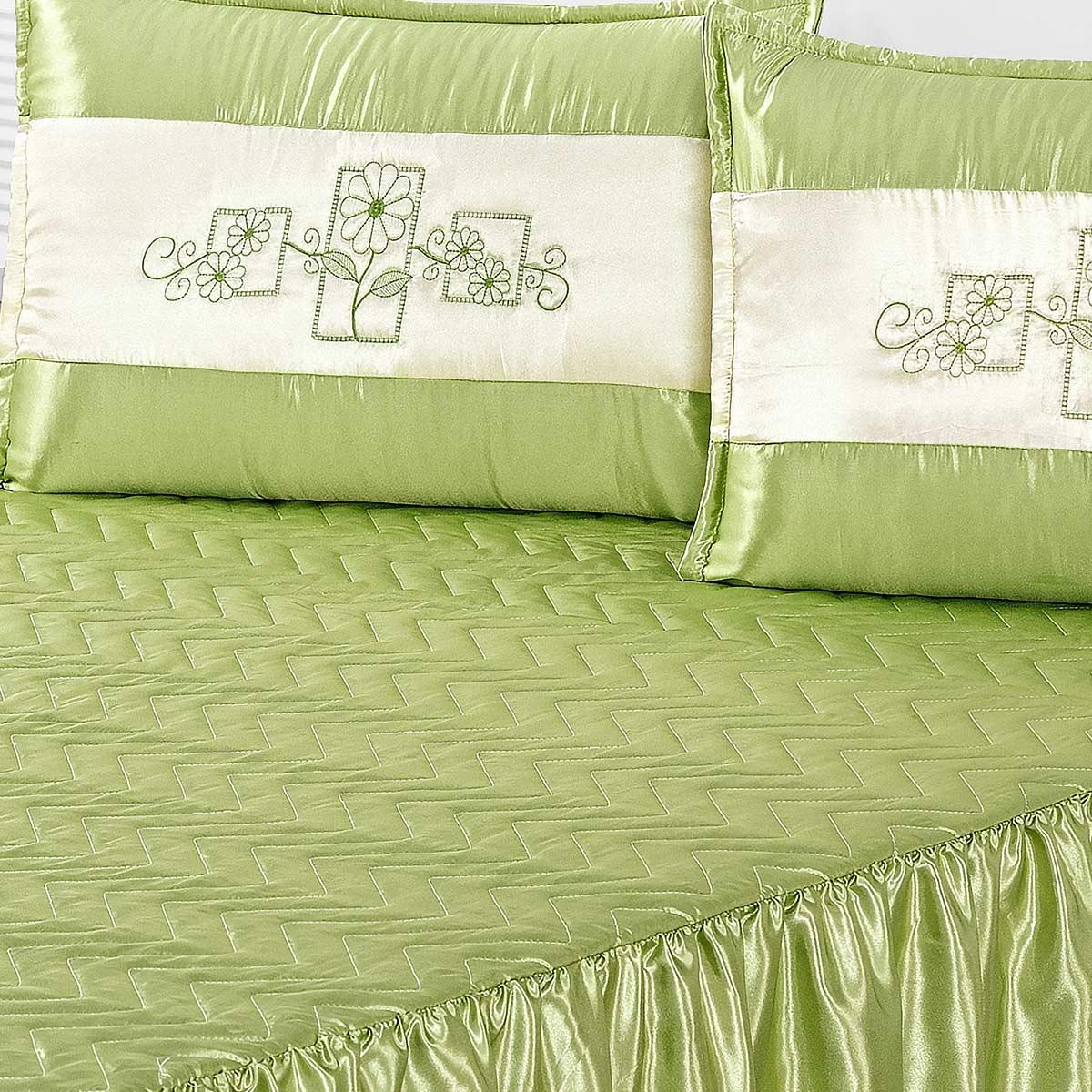 Colcha Tereza Casal Verde com 5 peças Poliéster e Polipropileno