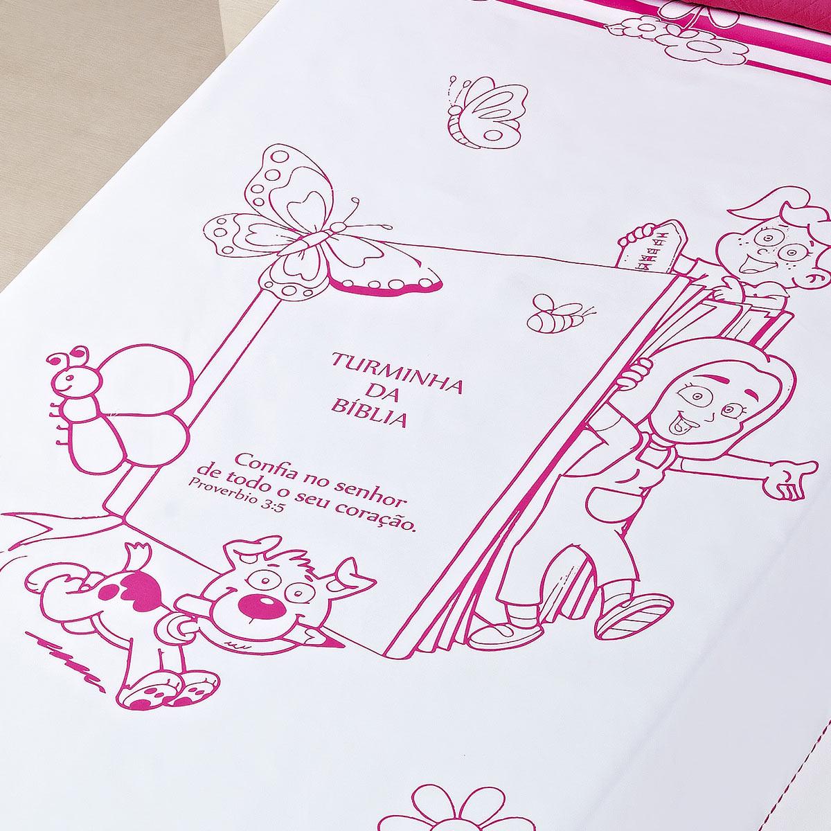Colcha Turminha da Biblia Solteiro Pink com 2 peças Algodão e Poliester