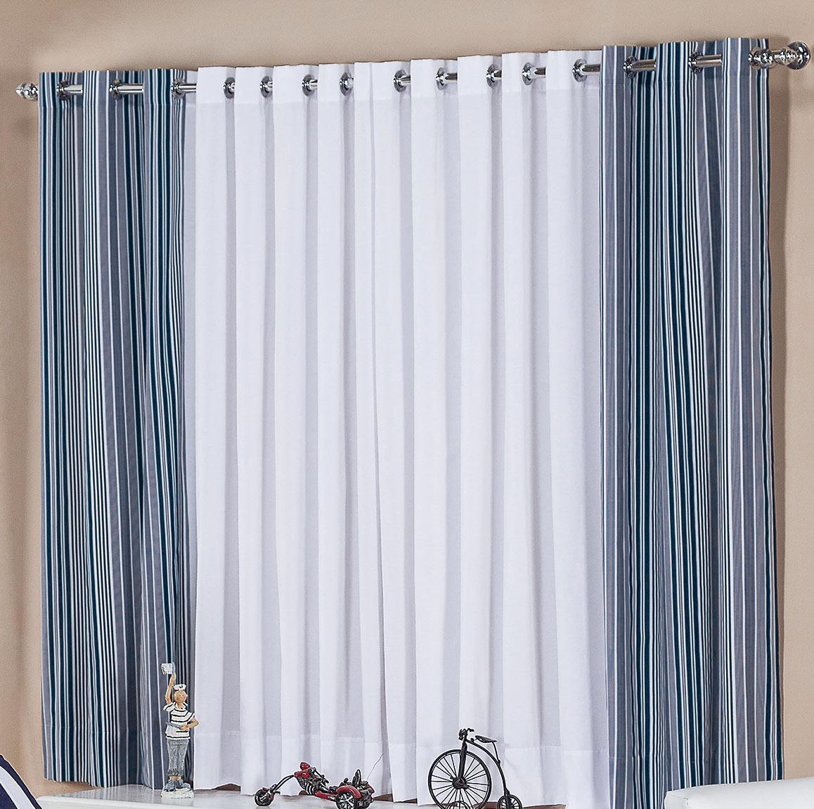 Cortina 2 metros Branca com Azul em Algodão 150 fios com 1 peças - Cortina Sala e Quarto Tebas