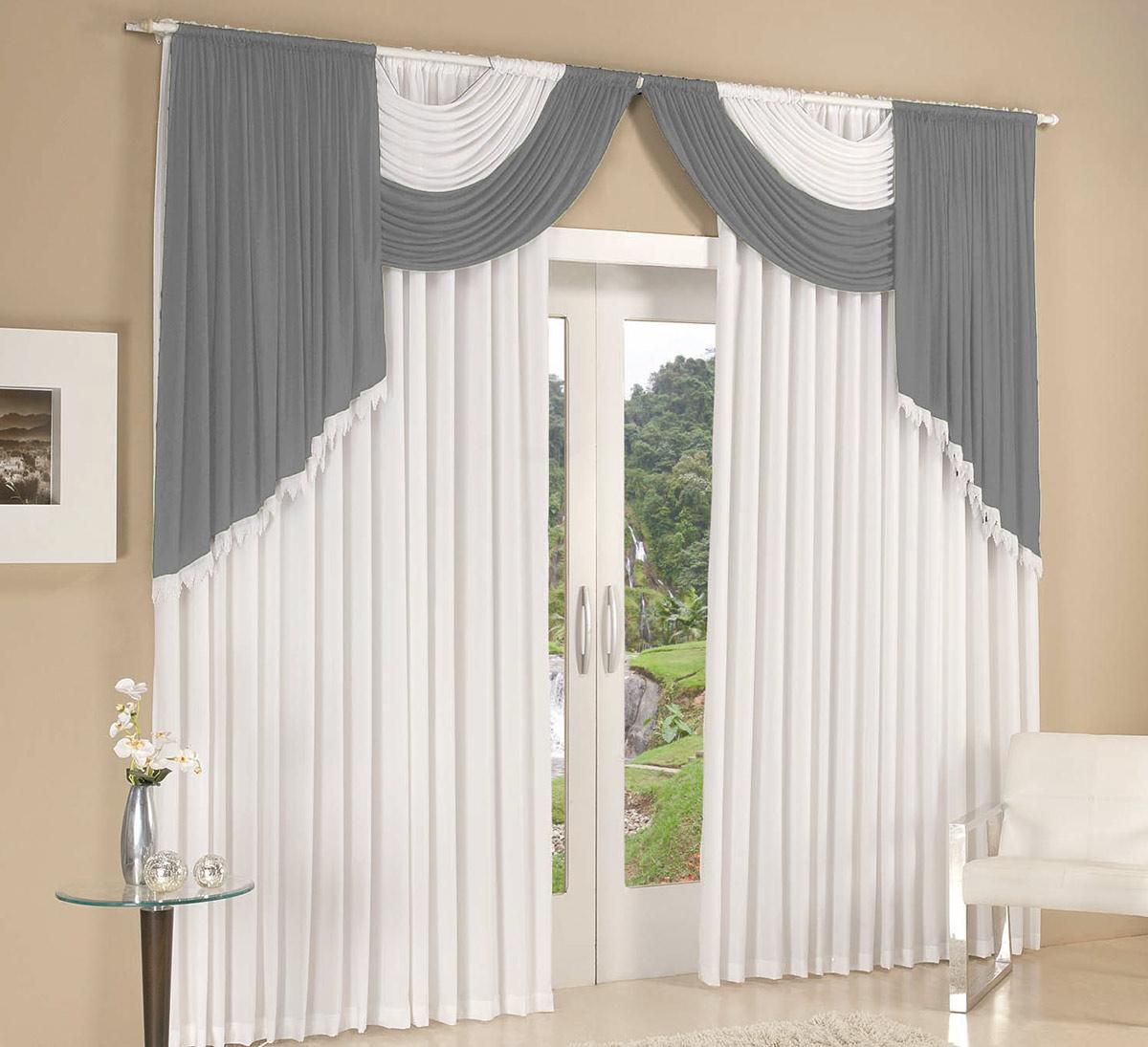 Cortina 2 metros cortina colonial branco c cinza com 1 - Cortinas por metros ...
