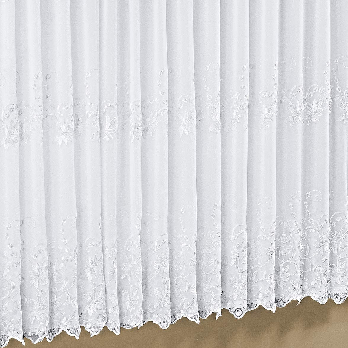 Cortina 2 metros Italiana Branco em Poliéster com 1 peça