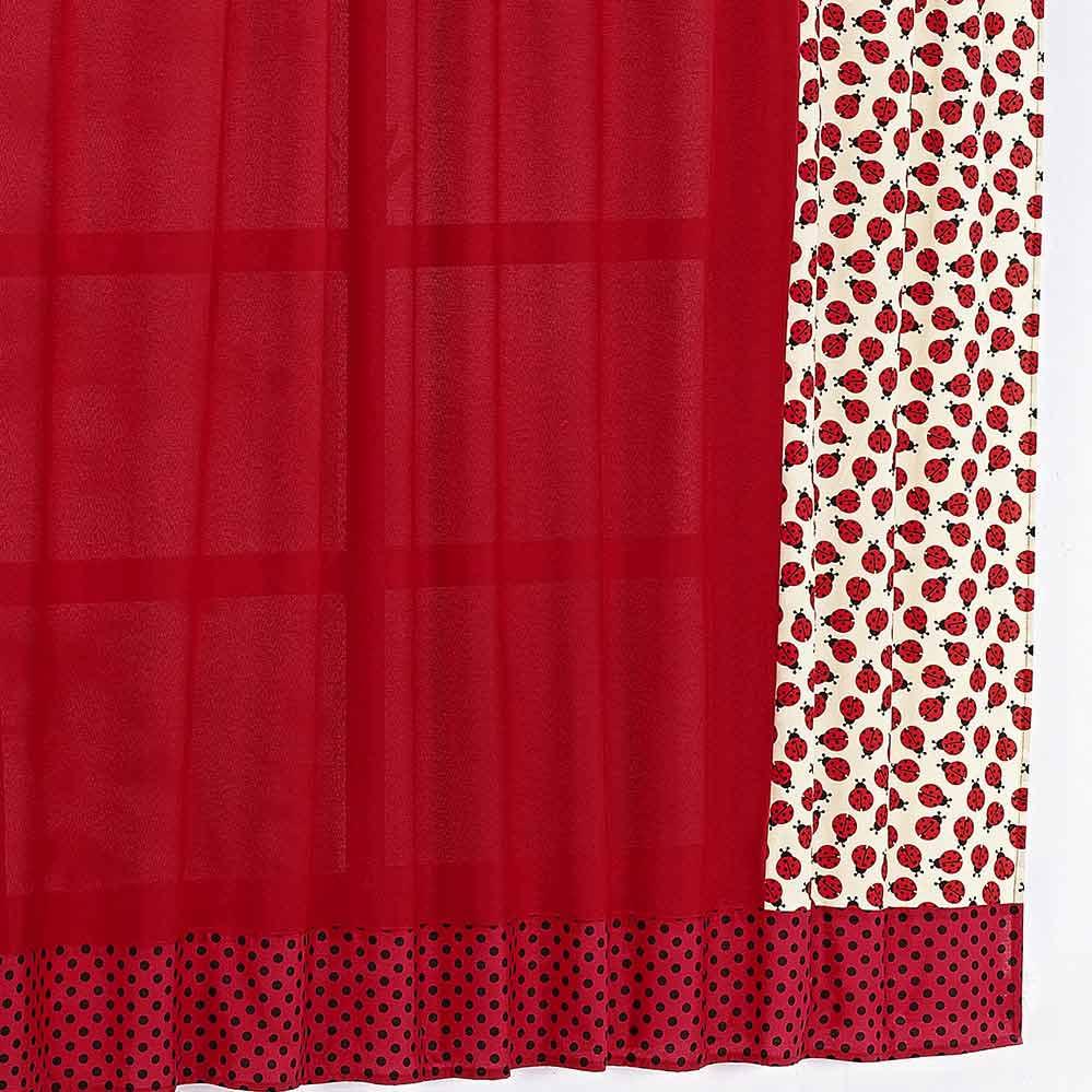 Cortina 2 metros Joaninha Vermelho em Poliéster com 1 peça