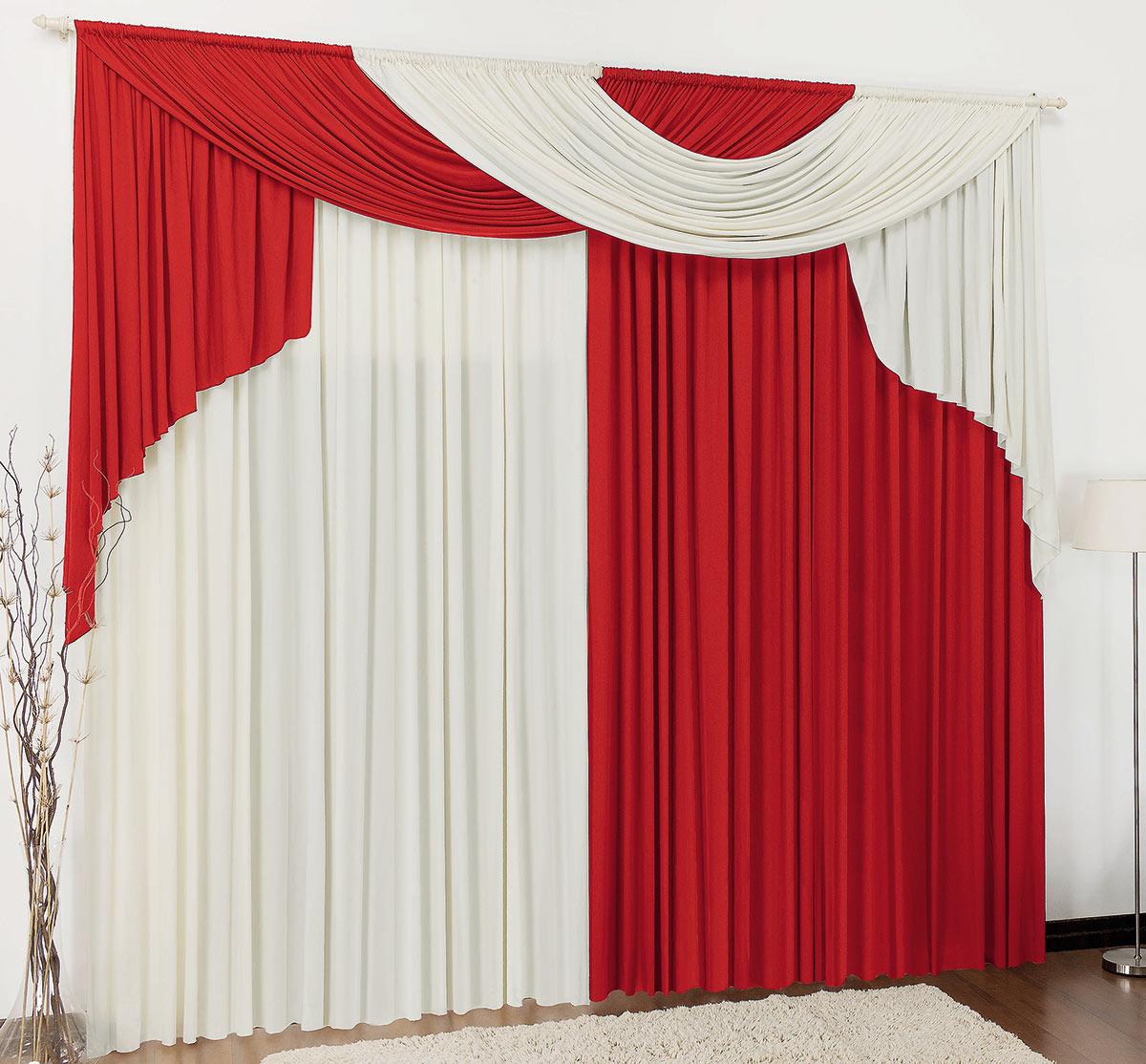 Cortina 3 metros Elegancy Vermelho  com 1 peças