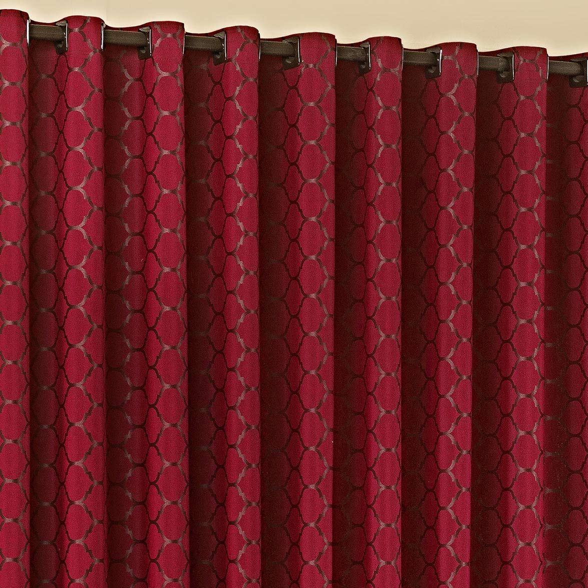 Cortina 3 metros Imperial Vermelho em Algodão e Poliéster com 1 peça