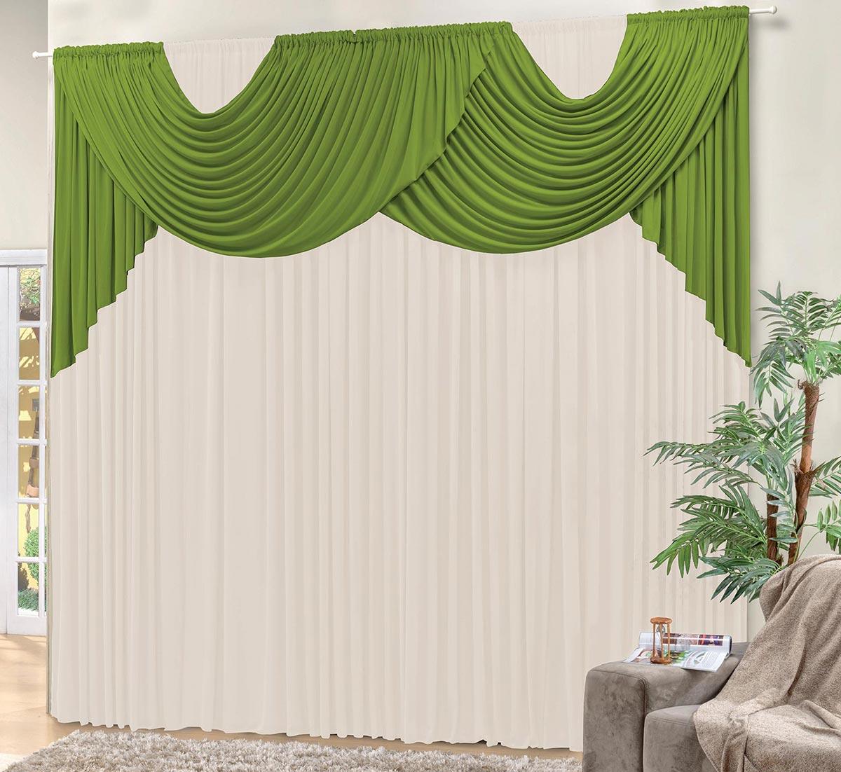 Cortina 3 metros Livia Verde e Palha Lisa com 1 peças