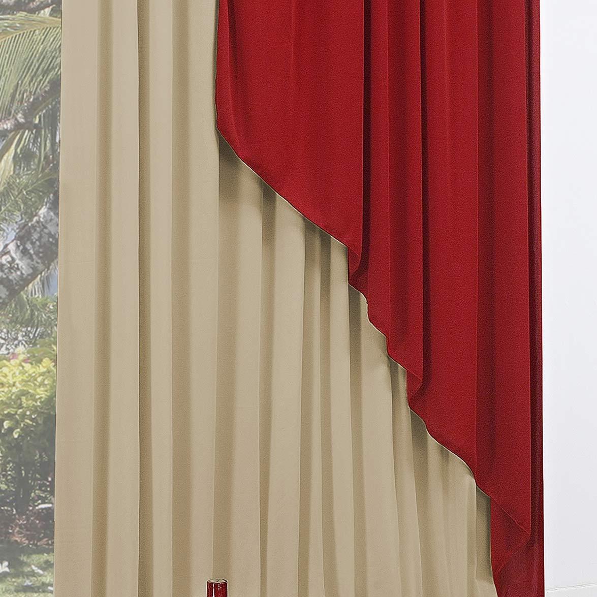 Cortina 4 metros Sensação Vermelho em Poliéster com 1 peça