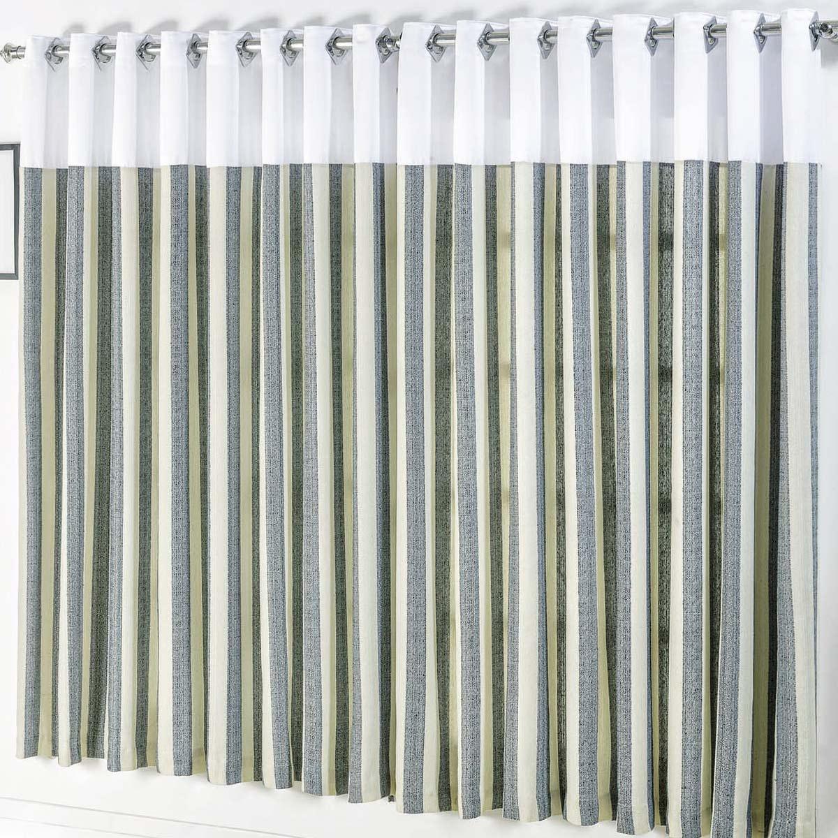 Cortina com Ilhós Cromado Estampado com Branco 2 metros em Tecido Rústico varão Simples - Cortina Madri