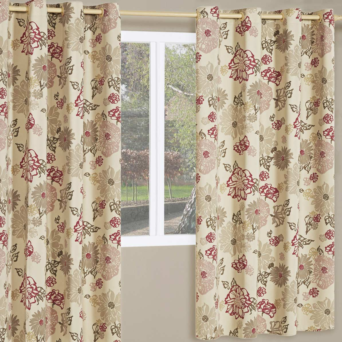 Cortina corta luz sol 2 metros floral vermelho com 1 pe as for Tipos de ganchos para cortinas