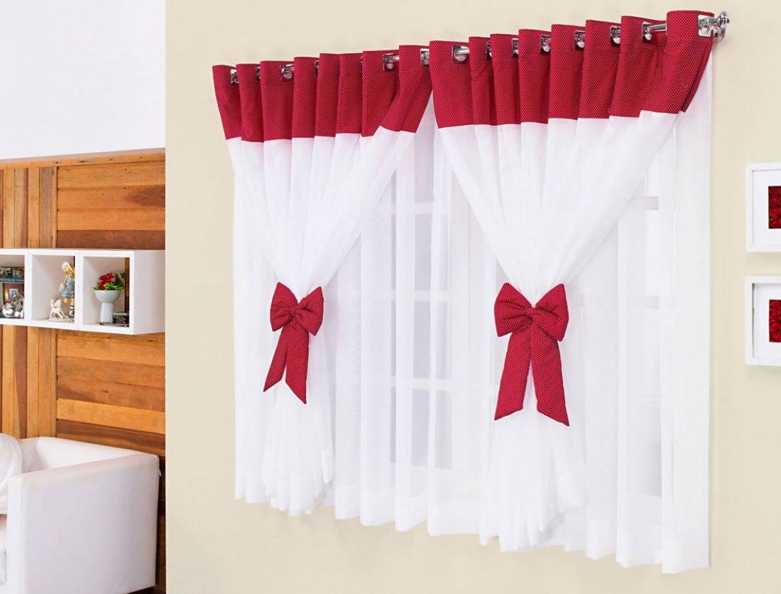 Cortina de Quarto Janine 2 metros cor Vermelho com Branca  ~ Quarto Verde E Vermelho