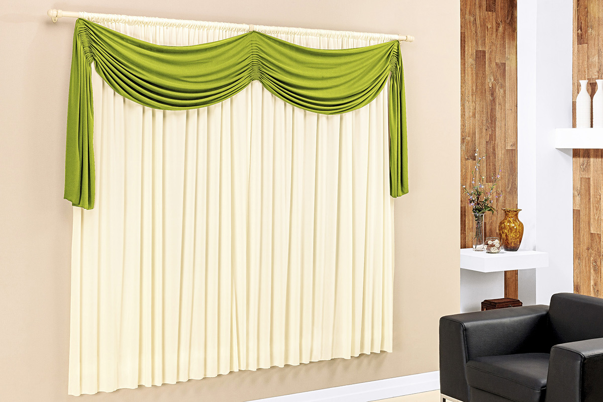 Cortina de Sala ou Quarto 2 metros Palha / Verde com 1 peças tecido Malha - Cortina Micaela