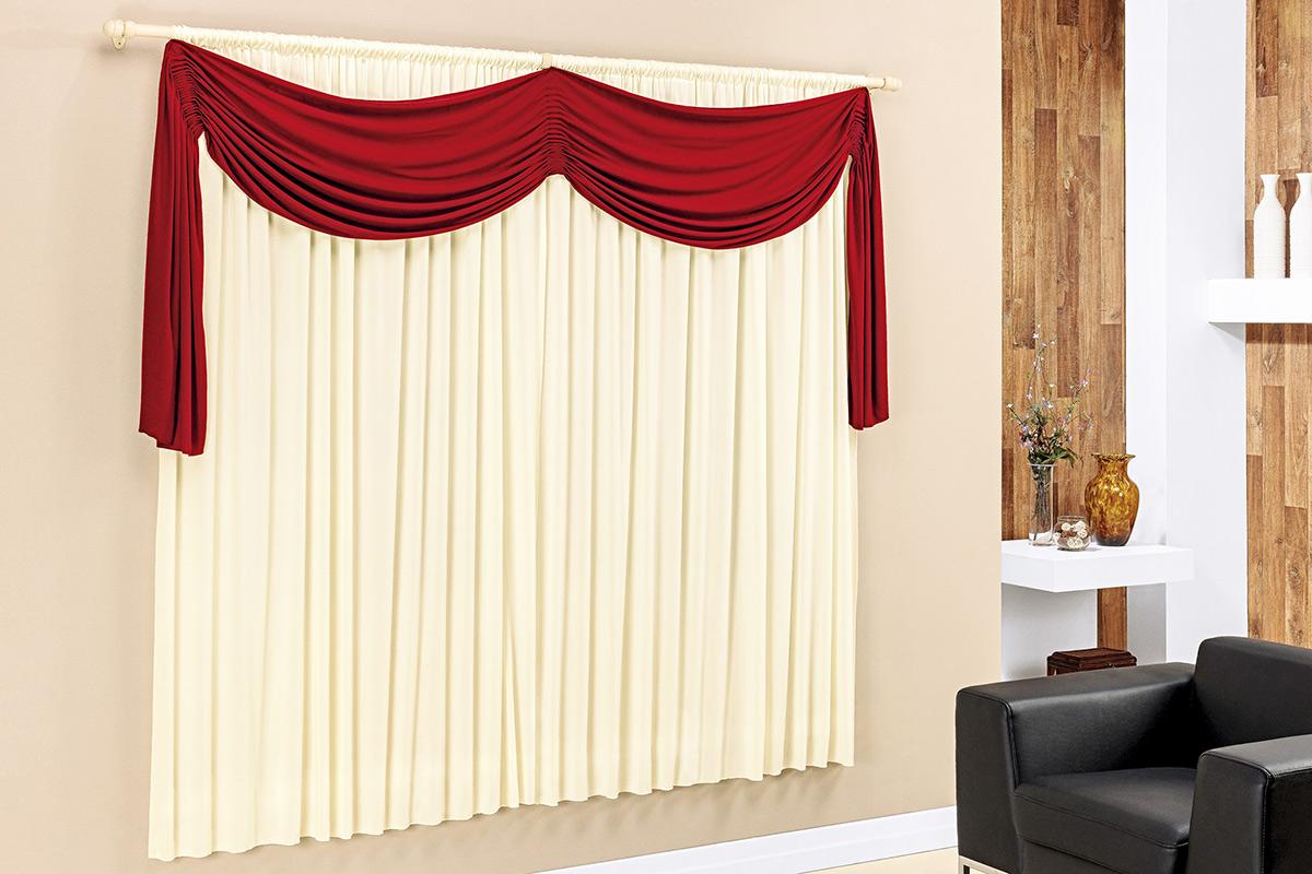 Cortina de Sala ou Quarto 2 metros Palha / Vermelho com 1 peças tecido Malha - Cortina Micaela