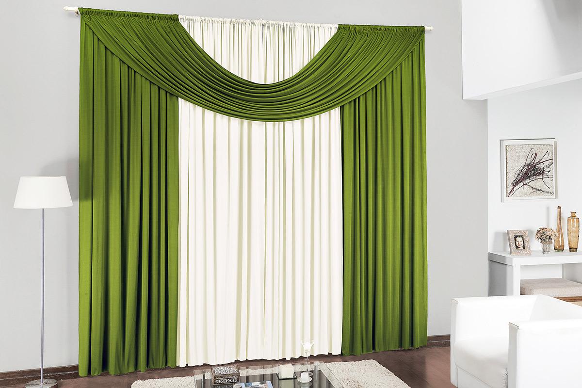 Cortina de Sala ou Quarto 2 metros Palha / Verde com 1 peças tecido Malha - Cortina Cristal
