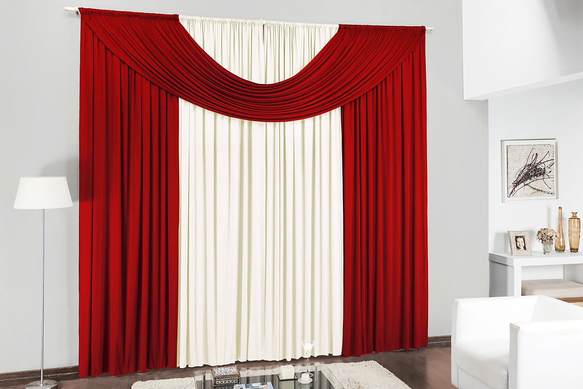Cortina de Sala ou Quarto 3 metros Palha / Vermelho com 1 peças tecido Malha - Cortina Cristal
