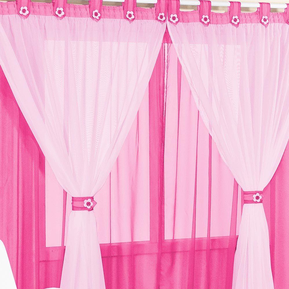 Cortina Juvenil Menina 3 Metros Pink e Rosa Presilha Flor com 1 peça