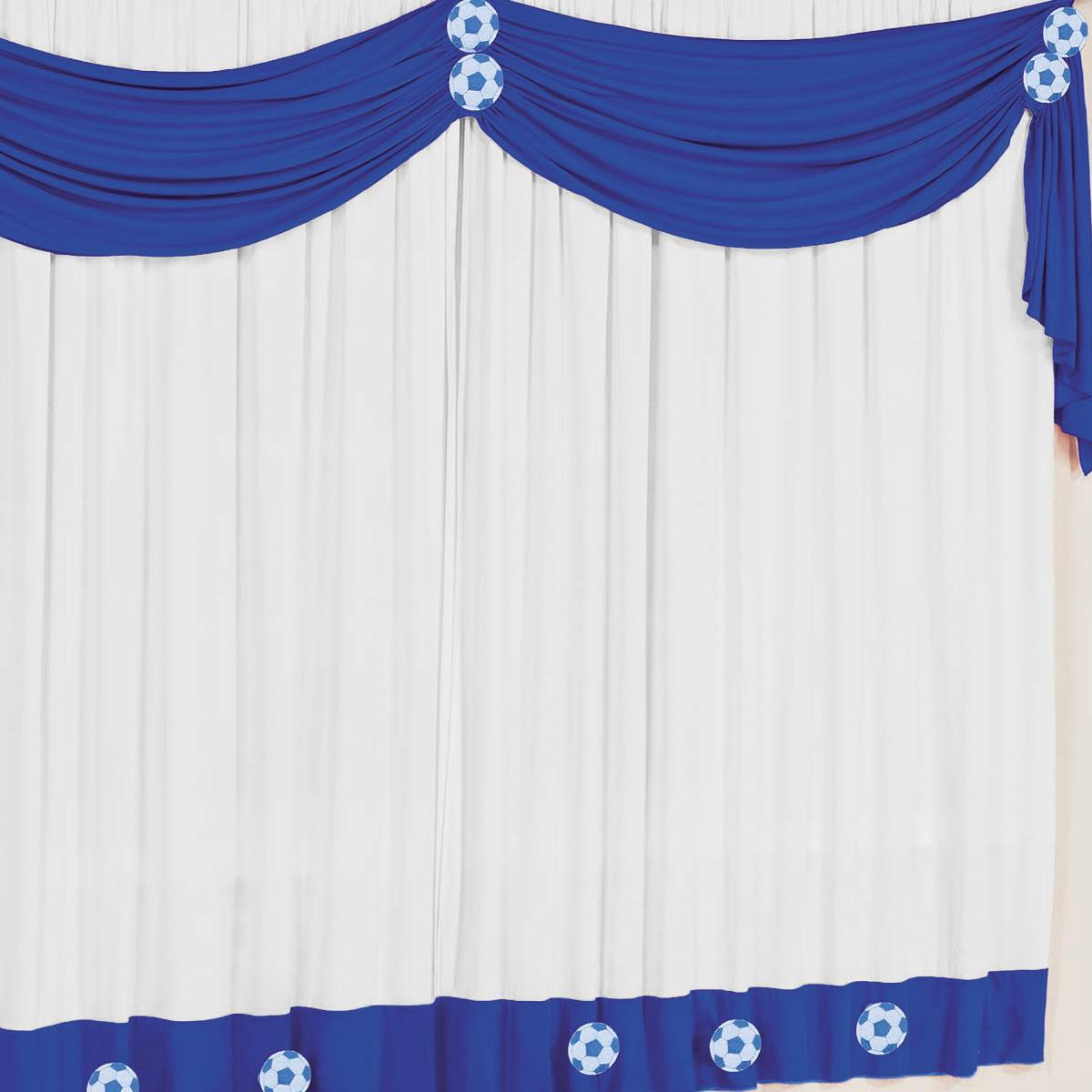 Cortina para sala e quarto azul e branco 2 metros em malha for Argollas de plastico para cortinas