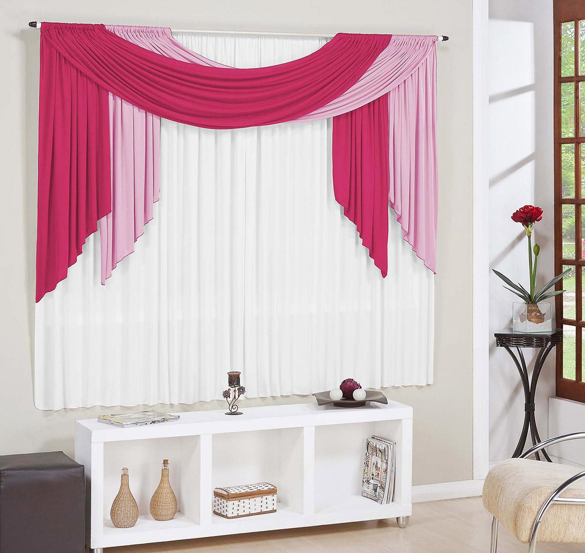 Cortina para sala e quarto pink e rosa e branco 3 metros for Cortinas bonitas para sala
