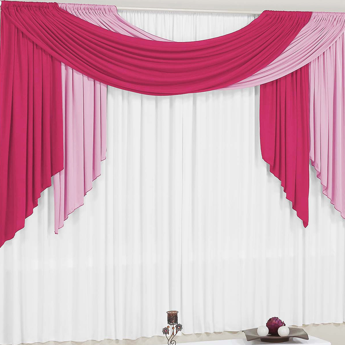 Cortina para sala e quarto pink e rosa e branco 4 metros for Argollas de plastico para cortinas