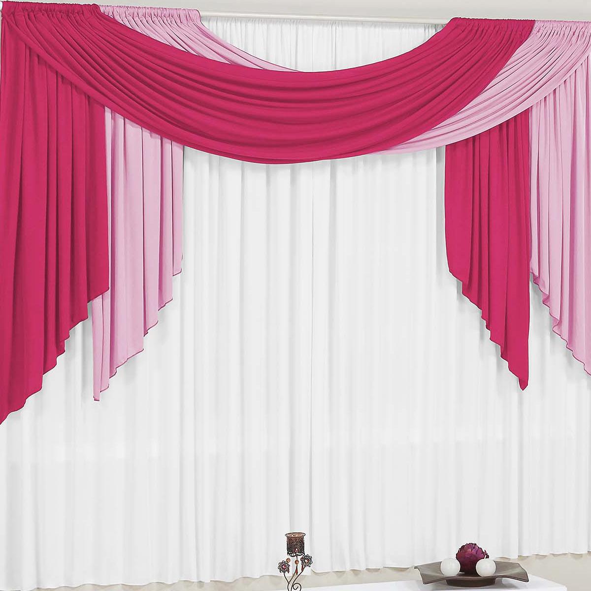 Cortina para Sala e Quarto Pink e Rosa e Branco 4 metros em Malha varão Duplo - Cortina Isabella