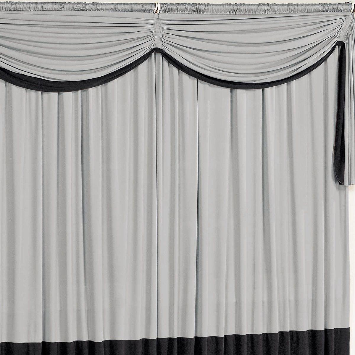 Cortina para sala e quarto preto e cinza 3 metros em malha for Ganchos de plastico para cortinas