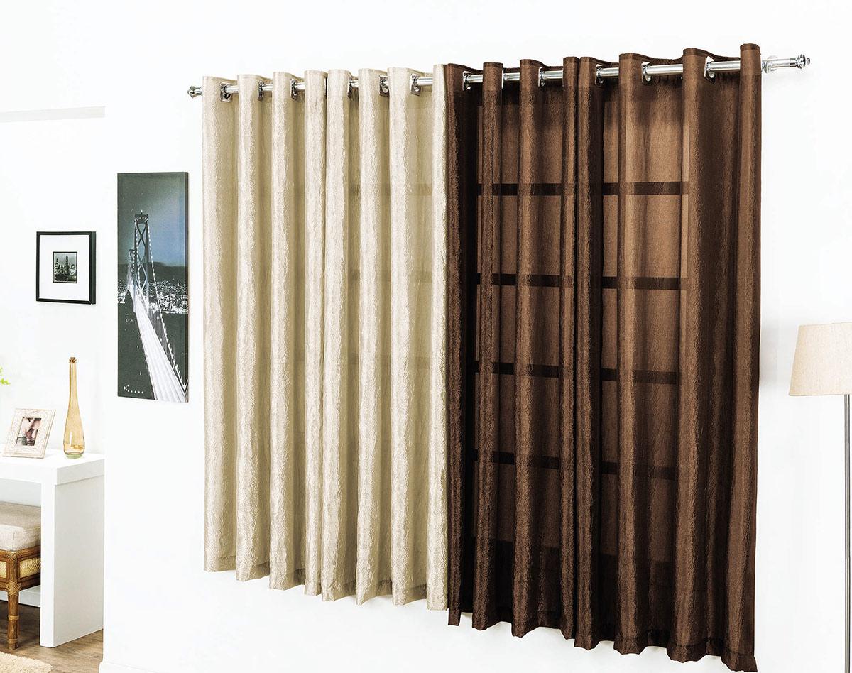 Cortina para sala e quarto tabaco e avel 3 metros em voil for Ganchos para cortinas de madera