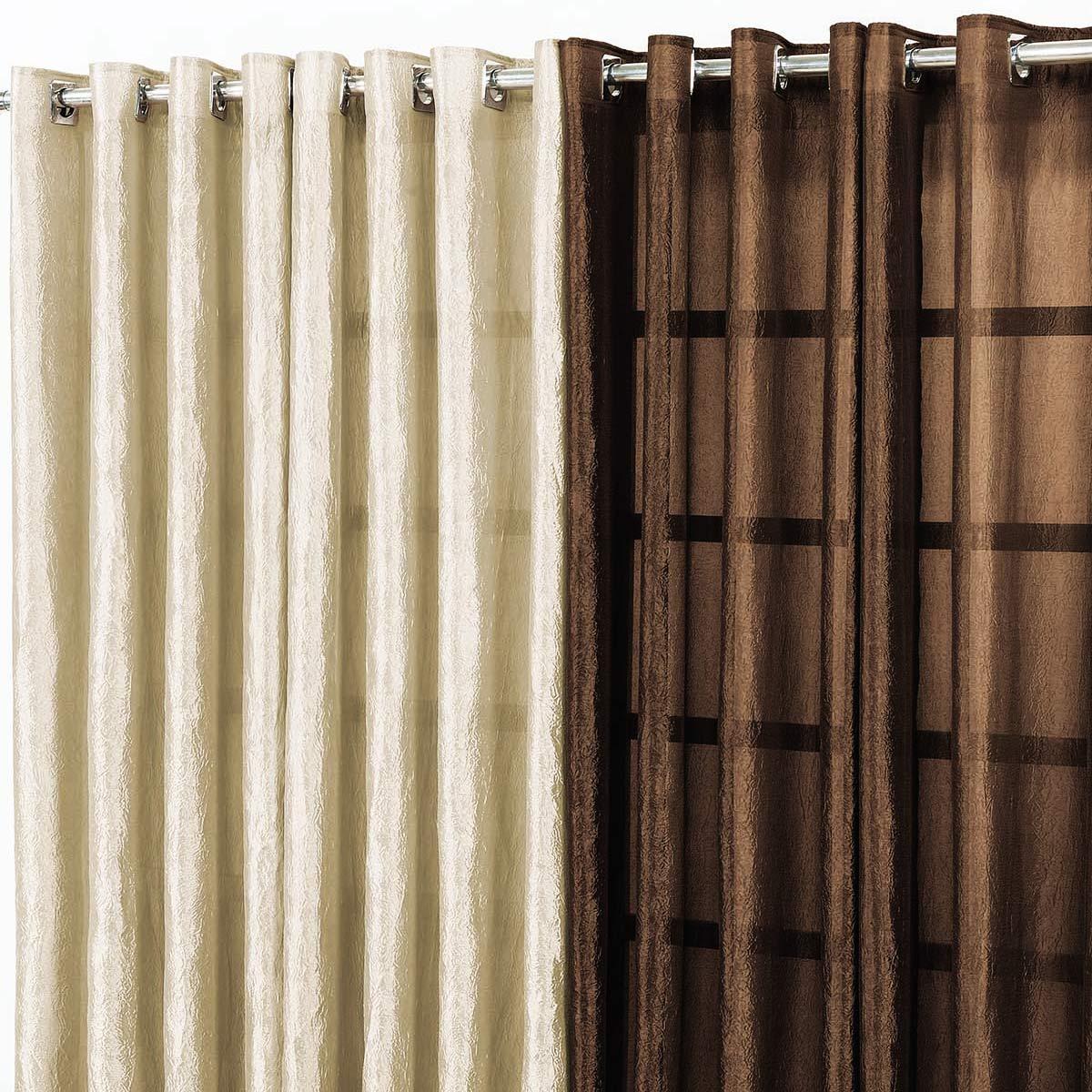 Cortina para sala e quarto tabaco e avel 3 metros em voil for Como poner ganchos de cortinas