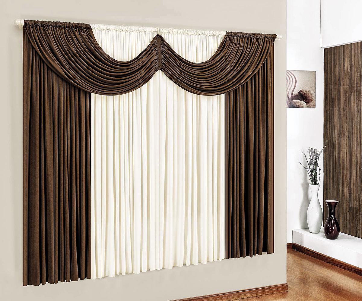 Cortina para sala e quarto tabaco e palha 3 metros em for Ganchos para cortinas de madera